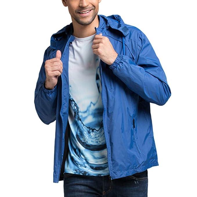 Chaqueta Exterior Impermeable y Cortavientos para Hombre, Empalme de Color sólido, Sudadera con Capucha y suéter de Manga Larga de Internet: Amazon.es: Ropa ...