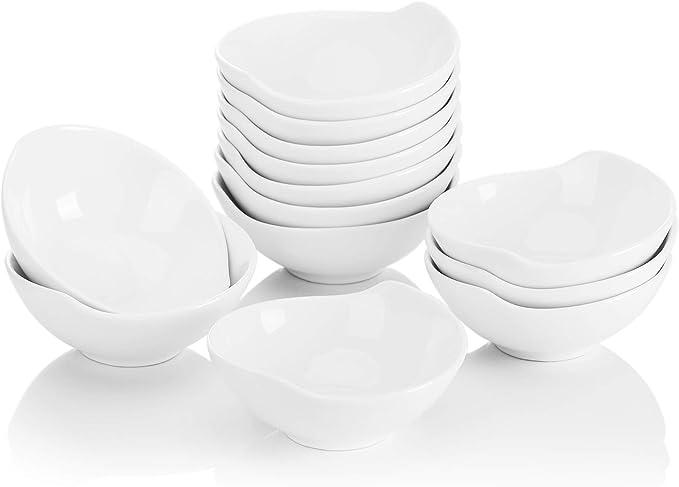 MALACASA, Series Ramekin.Dish Juego de Cuencos, 12 Piezas, Cuencos de Aperitivos, Postres de Porcelana Molde de Hornear