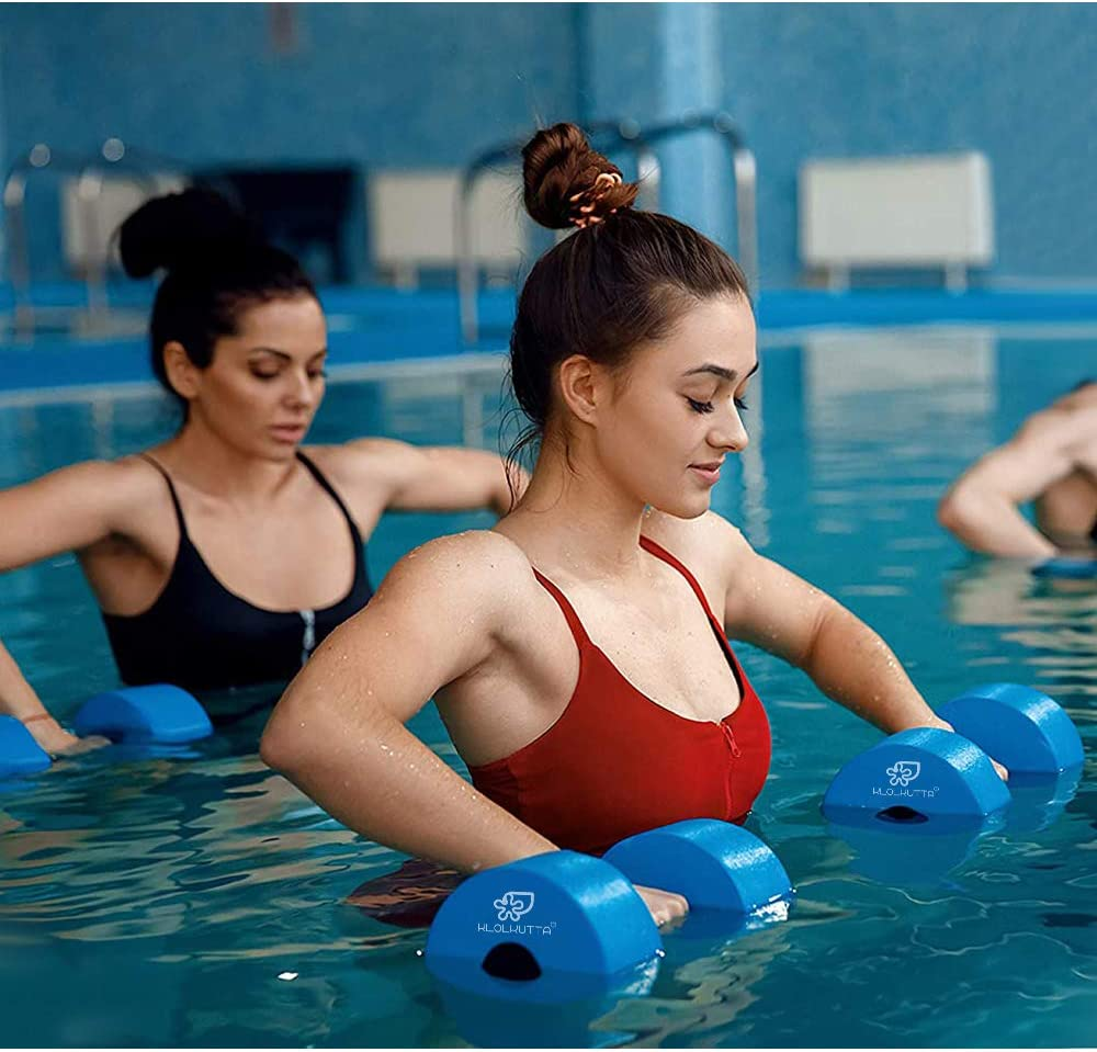 KLOLKUTTA Water Dumbbells Blue Aqua Dumbbells Set High-Density EVA-Foam Dumbell Resistance for Water Aerobics Fitness and Pool Exercises