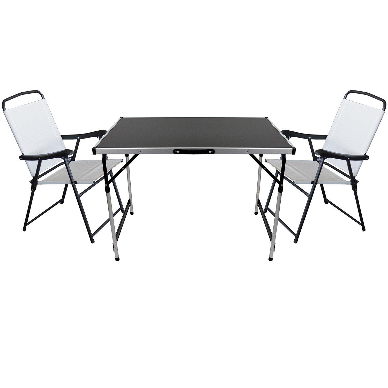 3er Set Camping Sitzgruppe Sitzgarnitur Klapptisch 100x60cm + 2x Klappstühle mit Textilengewebe Schwarz/Creme