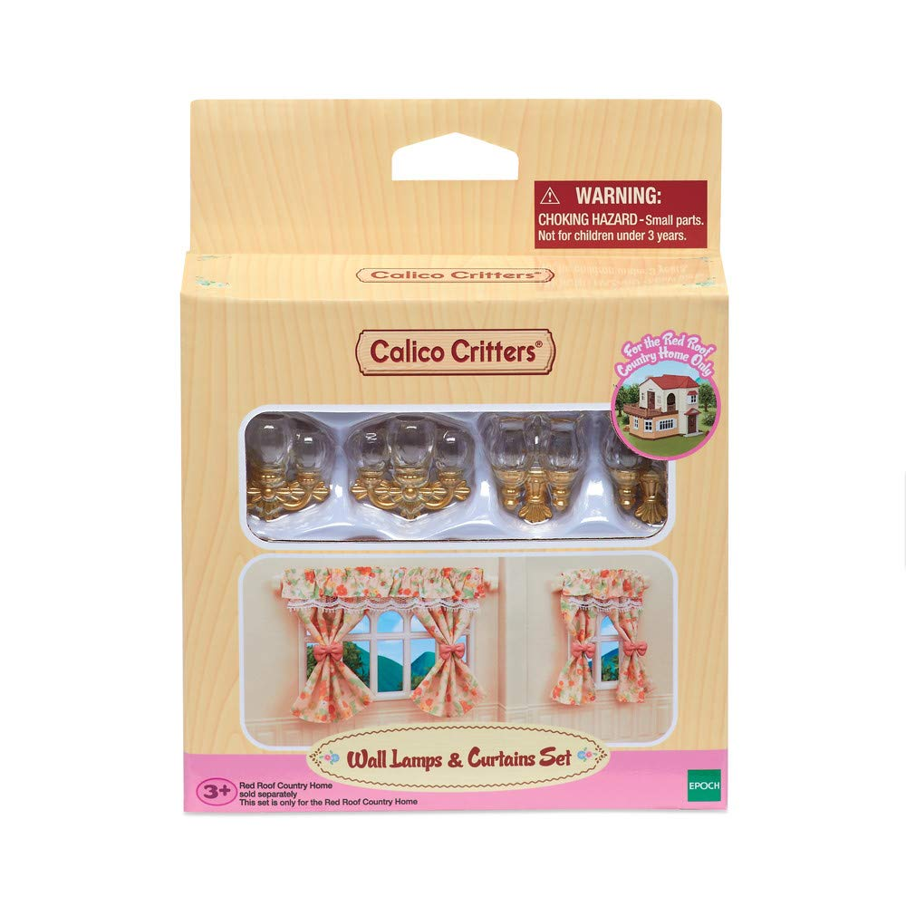 Calico Critters, Doll House Furniture and Décor, Wall Lamps & Curtains Set, Multicolor