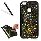 Case for Huawei P10 Lite,Glitter Sicone Case for Huawei P10 Lite,Leeook Pretty Special Shiny Glitter Gold Star Bling Slim Fit Soft Gel Flexible Bumper Protective Transparent Back Scratch-resistant Black Tpu Bumber Shell Skin Cover for Huawei P10 Lite + 1 x Black Stylus-Star,Gold