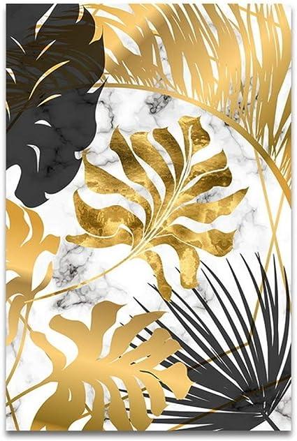 LiMengQi Plantas nórdicas Hojas Doradas Lienzo Pintura Carteles e imágenes de Arte de Pared para Sala de Estar Dormitorio Comedor decoración Moderna(No Frame): Amazon.es: Hogar