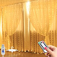 Liwiner LED Window Curtain String Light with Hook Remote Control (Warm White)