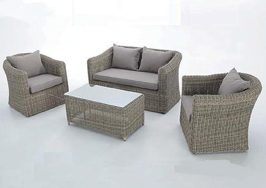 CONJUNTO DE EXTERIOR. SET JAVA. Compuesto por un Sofá 2 plazas, dos Sofás 1 plaza y una mesa baja rectangular: Amazon.es: Jardín