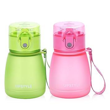Mini botella de agua de plástico con pajita, antigoteo, ideal para deporte y para viajes, para niños, 300 ml, de Upstyle: Amazon.es: Hogar