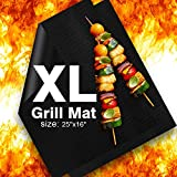 "Delamu BBQ Grill Mat, XL Grill Mats Non Stick, 25""x16"", 0.3mm, Set of 2 Heavy Duty, Reusable, Easy to Clean, FDA-Approved PTFE Teflon Fiber Grill Roast Sheets for Gas, Charcoal, Electric Grill"