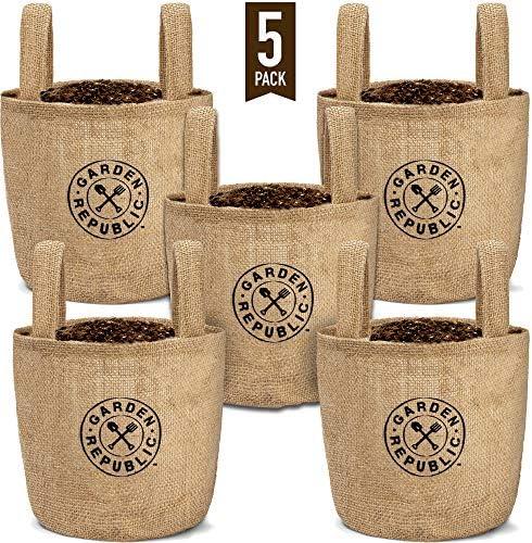 Indoor Garden Grow Bags 1 Gallon – 5 Jute Burlap Bag Fabric Pots – Plant Pot for Container Gardening Outdoor, Growing Plants Indoors, Planting Seeds, Herb Planter, Balcony Planters – Liner Drainage