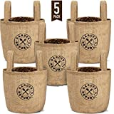 1 Gallon Plant Grow Bags - 5 Pack - Jute Burlap Bag Pots for Plants, Plastic Lining, Drainage Hole - Planting Pot for Indoor Garden, Outdoor Planters, Balcony, Patio Planter, Container Gardening Gifts