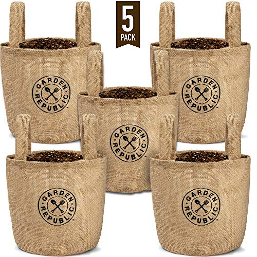 1 Gallon Plant Grow Bags - 5 Pack - Jute Burlap Bag Pots for Plants, Plastic Lining, Drainage Hole - Planting Pot for Indoor Garden, Outdoor Planters, Balcony, Patio Planter, Container Gardening Gifts (Best Herbs To Grow In Pots Indoors)