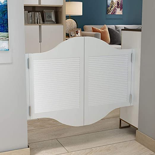 Amazon Com Guowei Louvered Swinging Door Solid Wooden Cafe Bar Kitchen Entrance Restaurant Indoor Use Room Divider Hardware Hinges Included Customizable Color White Size 120cmx90cm Home Kitchen