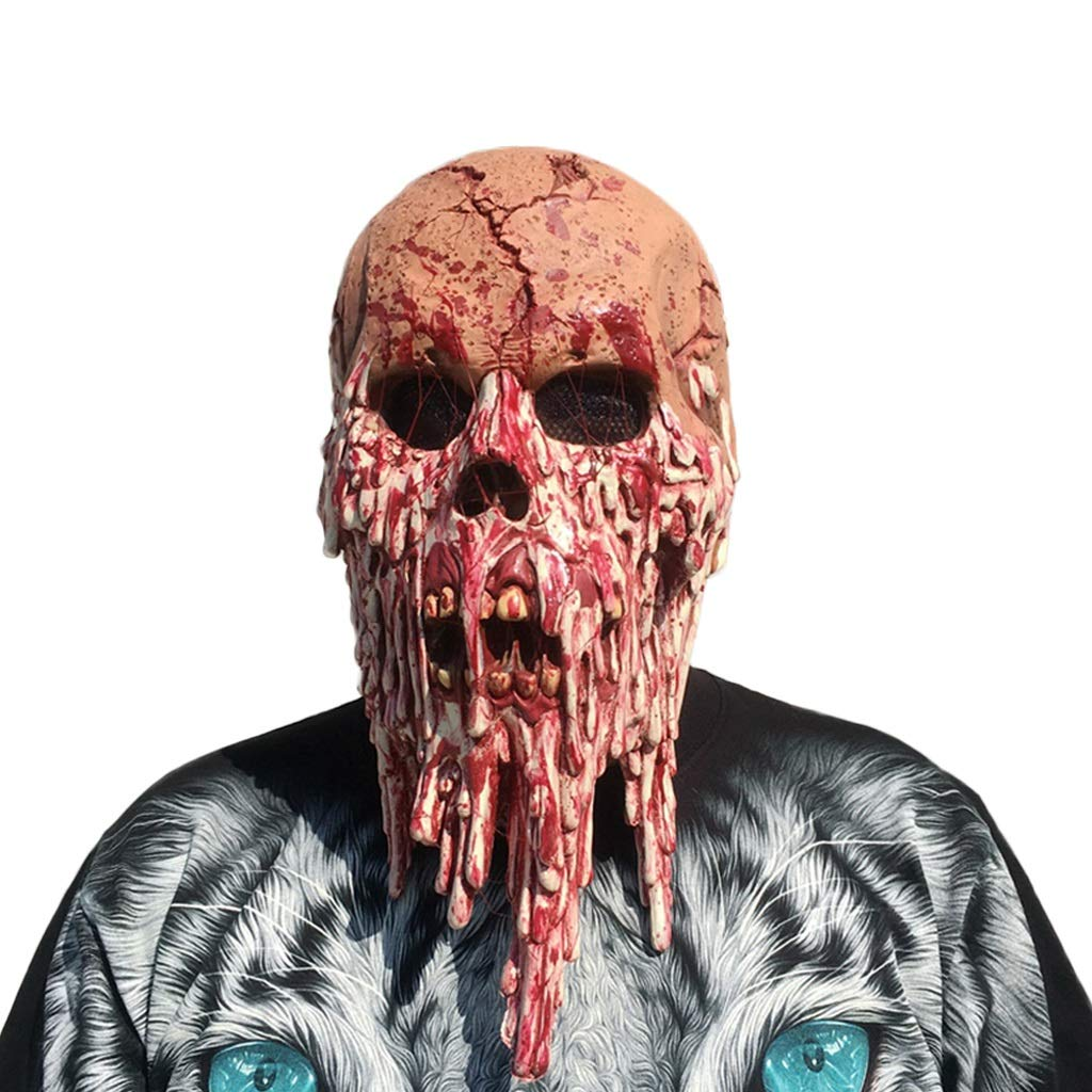 LCMJ WS Halloween Horror Grimace Scary Mask Zombies, Prom Carnival Props Decoration, Men and Women (Color : Blood Skull)
