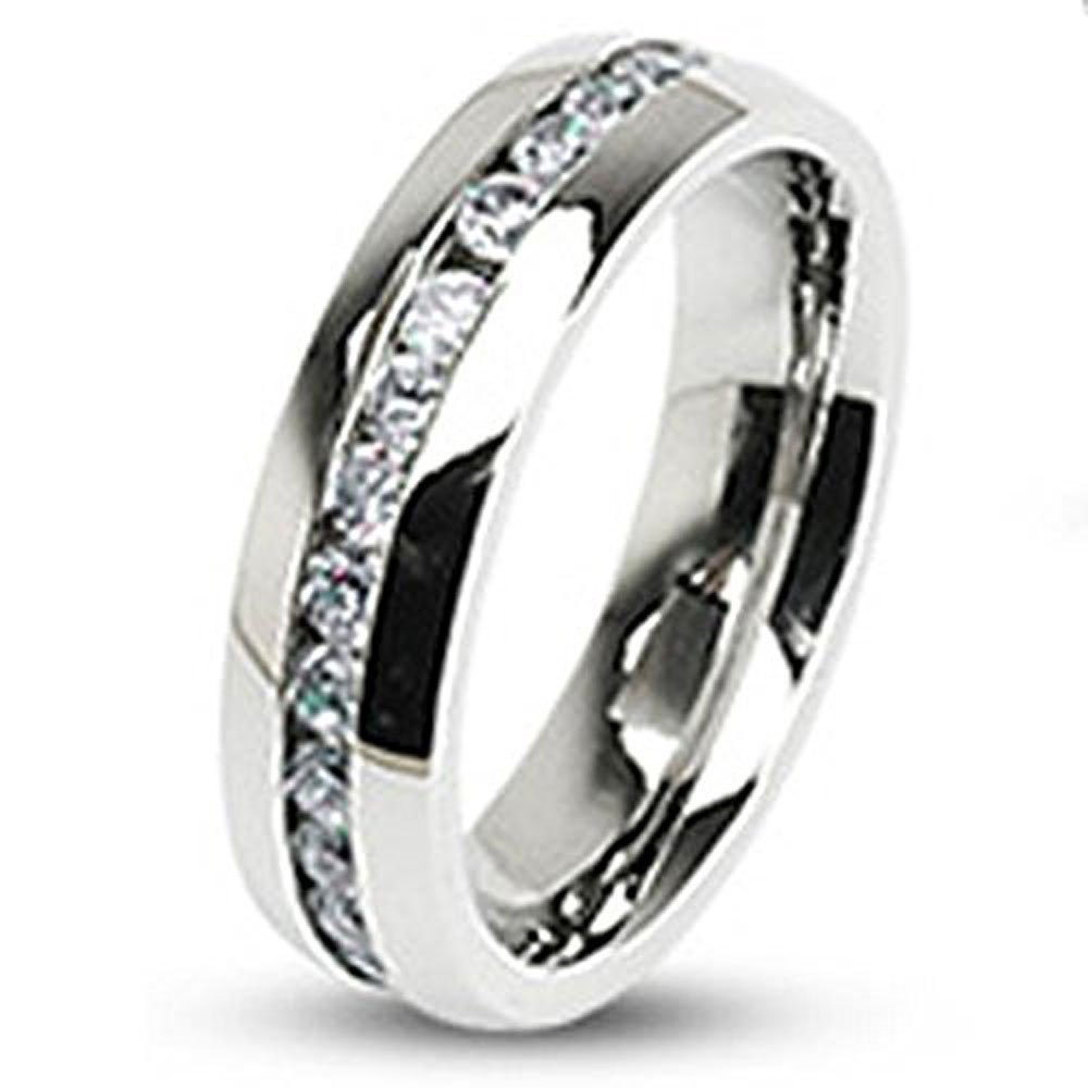 FlameReflection 4mm Stainless Steel Eternity Round Cubic Zirconia Women's Engagement Wedding size 10 SPJ