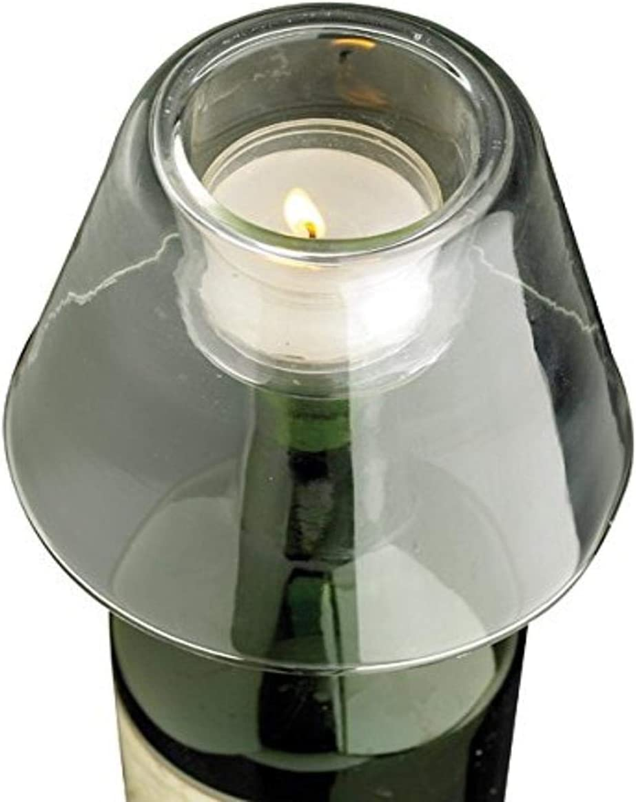 Biedermann & Sons Glass Wine Bottle Tealight Holder