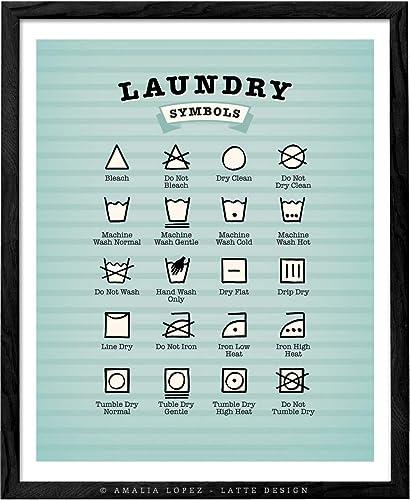 Light blue Laundry Symbols Print by Latte Design  Laundry