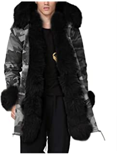 75f96c84328e8 Aox Mens Casual Faux Fur Hood Warm Thicken Lined Winter Coat Plus Size  Lightweight Outdoor Jacket