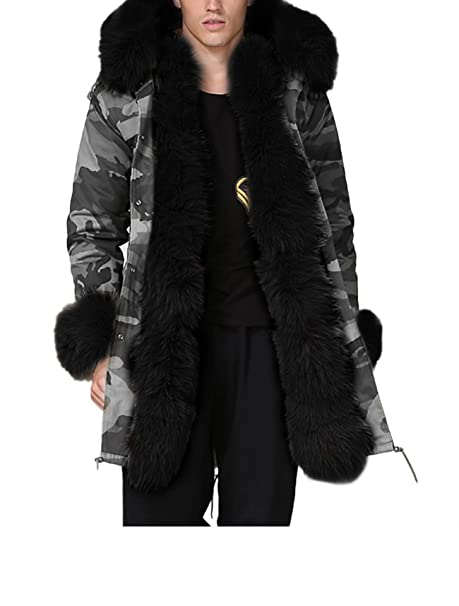 68f9e95d27b Aox Mens Casual Faux Fur Hood Warm Thicken Lined Winter Coat Plus Size  Lightweight Outdoor Jacket Parka  Amazon.co.uk  Clothing