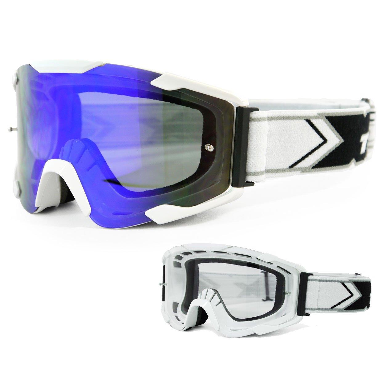 TWO-X Bomb Crossbrille Neon gelb Glas Light verspiegelt blau MX Brille Motocross Enduro Spiegelglas Motorradbrille Anti Scratch MX Schutzbrille