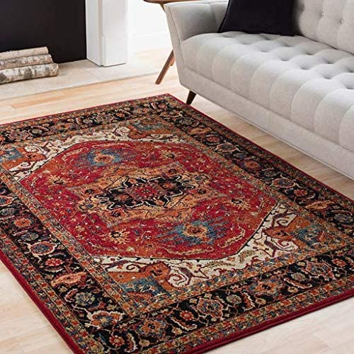 Malpas 7 10 x 10 6 Rectangle Traditional 100 Polypropylene Dark Red Black Tan Dark Blue Bright Orange Lime Bright Yellow Ivory Area Rug