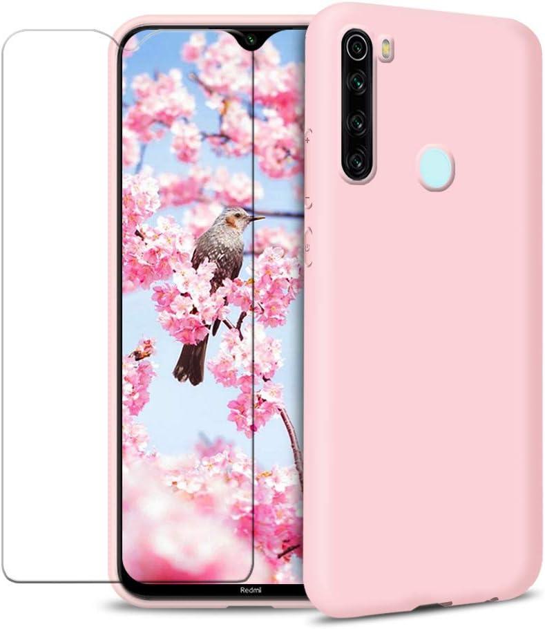Funda para Xiaomi Redmi Note 8 + Protector de Pantalla de Vidrio Templado, Carcasa Ultra Fino Suave Flexible Silicona Colores del Caramelo Protectora Caso Anti-rasguños Case - Rosa Claro
