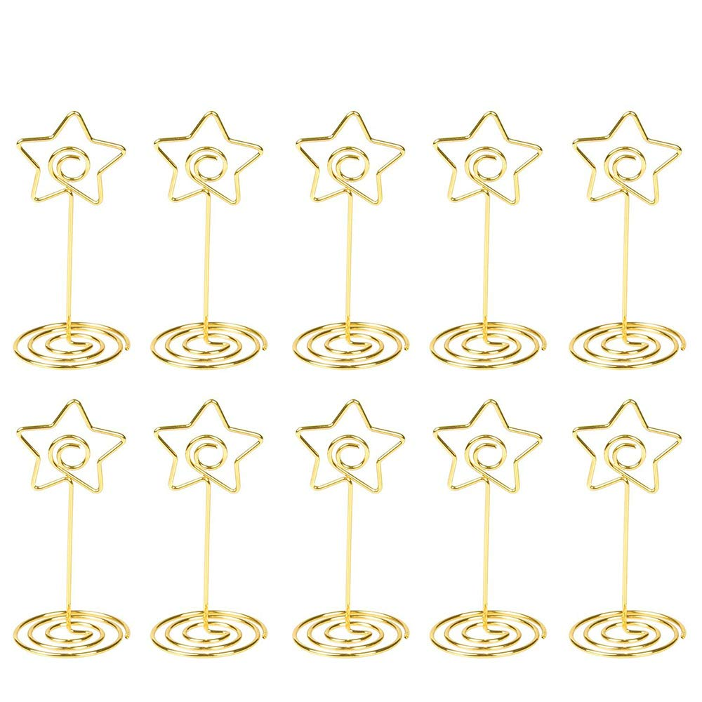 Photo Stand Place Card Holder Gold Table Number Stand Wire Photo Holder Clips Picture ID Card Paper Note Memo Holder Clips for Wedding Party - 10 Pcs by C Five