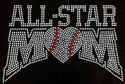 All Star Mom Baseball Rhinestone Iron on Transfer