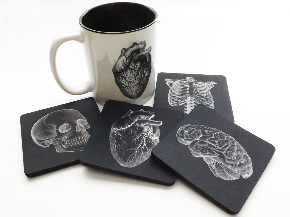 Coffee Mug and four Coasters Gift Set Anatomy skull anatomical heart brain medical professional