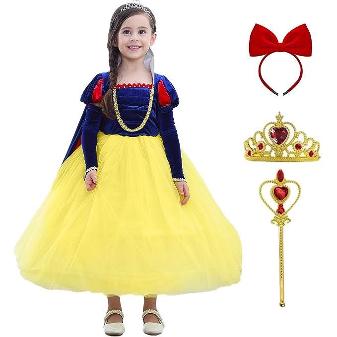 Blancanieves Disfraz Niña Vestidos de Princesa con Capa ...