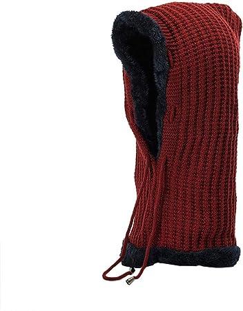 Men Women Warm Crochet Winter Plus Velvet Thickening Slouchy Siamese Collar Hat