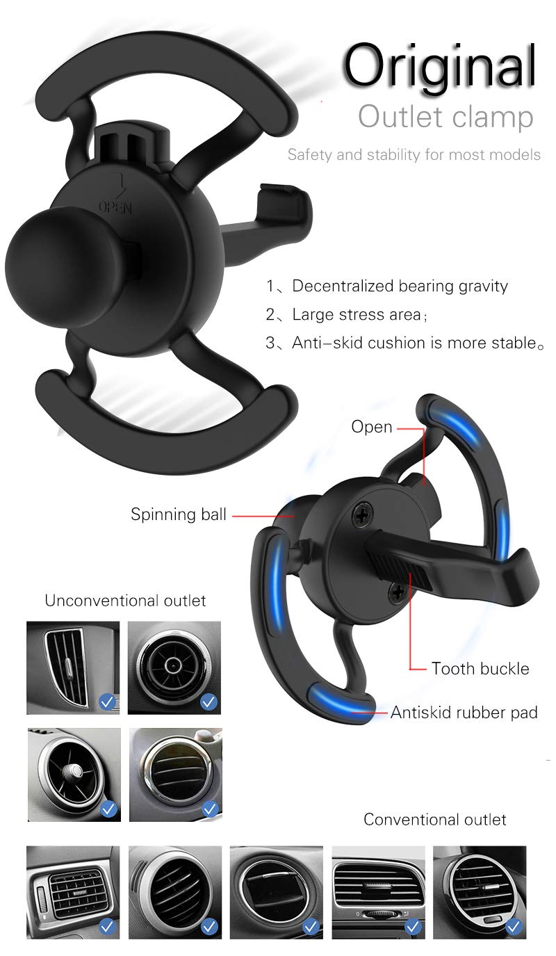 GIN FOXI Fast Wireless Car Charger Mount,Auto Clamping Wireless Car Charger Holder,10W Compatible with Samsung Galaxy S10 /S10+/S9 /S9+/S8 /S8+,7.5W Compatible with iPhone Xs/Max/X/XR/8/8 Plus ect,