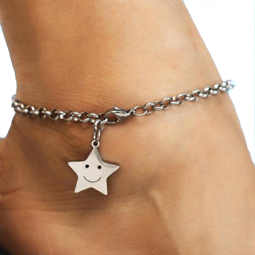 Stainless Steel Bracelet Titanium Steel Smile Pentacle Pendant Anklet