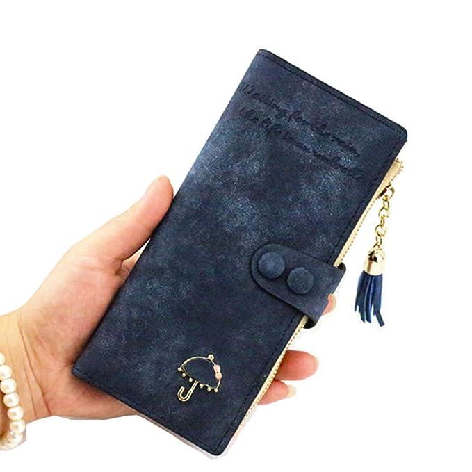 Amazon.com: ifunle mujeres RFID bloqueo portafolios embrague ...