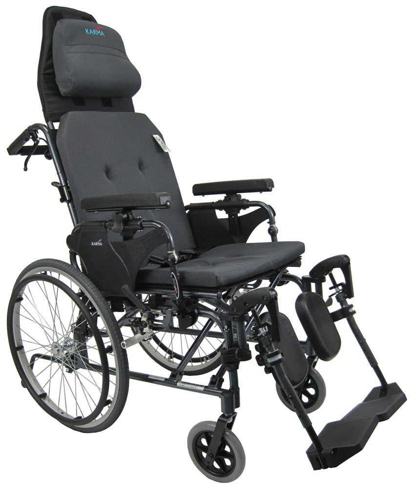 Karman Healthcare MVP502-18 Ergonomic V-Seat Reclining Wheelchair, Diamond Black, 22 Inches Rear Wheels and 18 Inches Seat Width