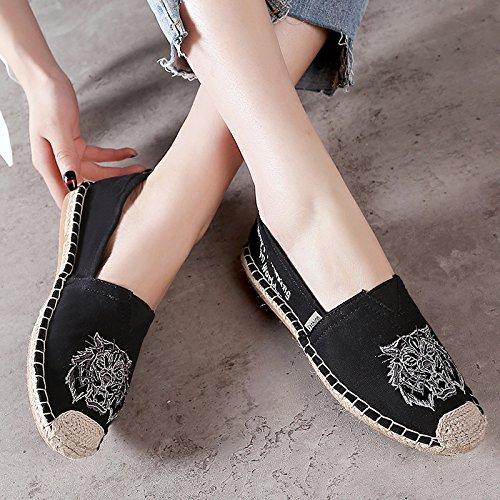 top Casual Shoes Monrinda Black Loafer Womens Low Espadrilles Sneakers Slip Flats Canvas Walking Classics On BPzxHBwq