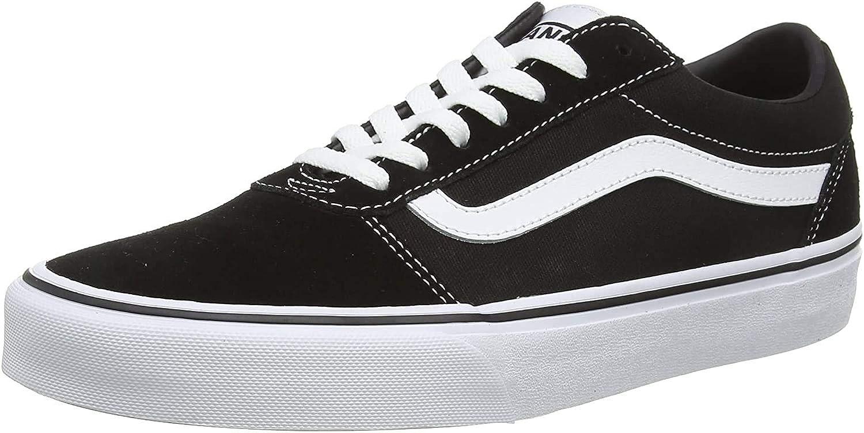 Vans Men's Low-Top Sneakers Black Suede Canvas Black White C24