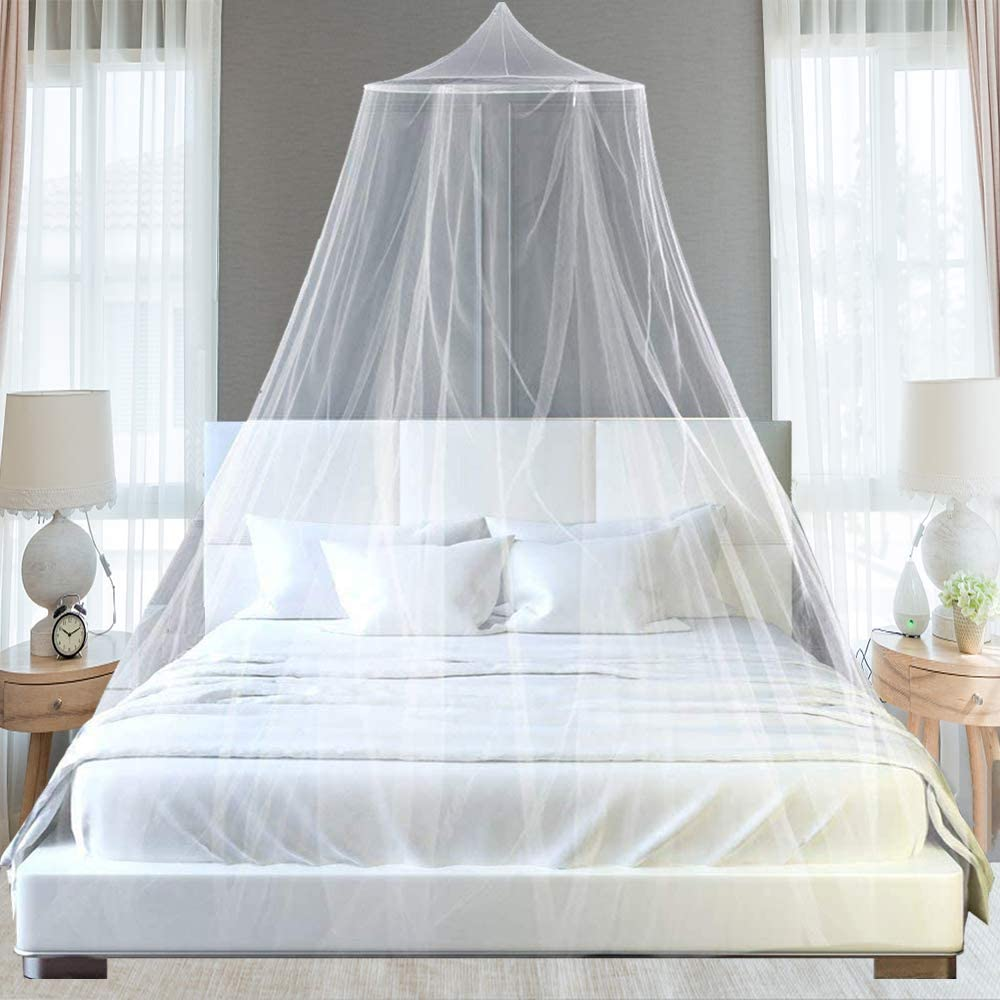 White Mosquito Mesh Net for Bed Canopy,Large Dome Hanging Bed Net Tent for Double//Single Bed,12 Meter Coverage Ideal for Bedroom Decorative,Holidays