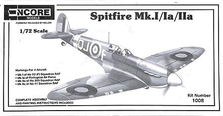 Encore 1:72 Spitfire Mk.I//Ia//IIa Plastic Aircraft Model Kit #1008U