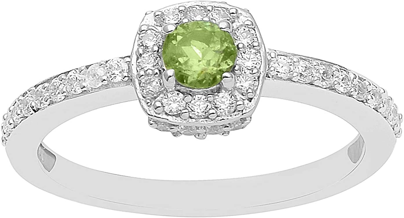 925 Sterling Silver Peridot With CZ Gemstone Halo With Accent Solitaire Stackable Ring