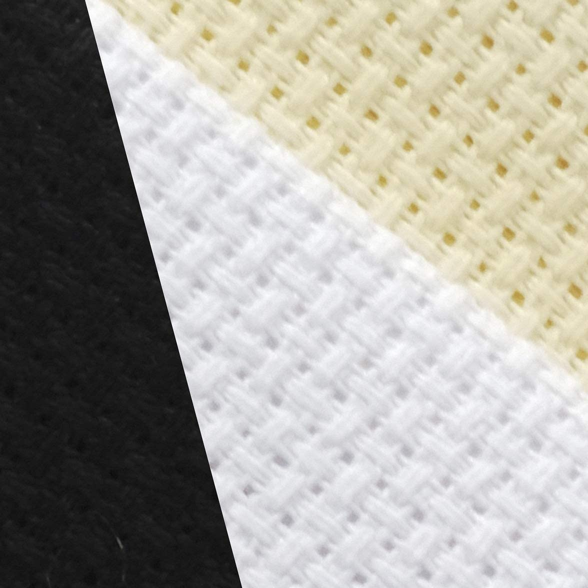 KCS 12 x 18 by 3 Pack 14CT Counted Cotton Aida Cloth Cross Stitch Fabric White+Cream+Black