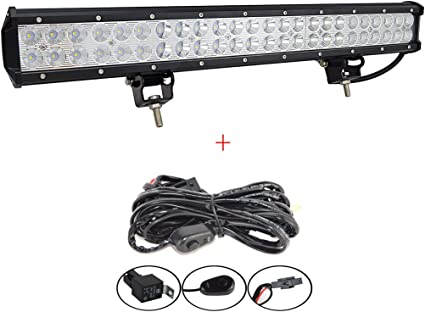 """Wire KIT 22/"""" inch 120W LED Light Bar Flood Spot Combo for Offroad SUV ATV 4WD"""