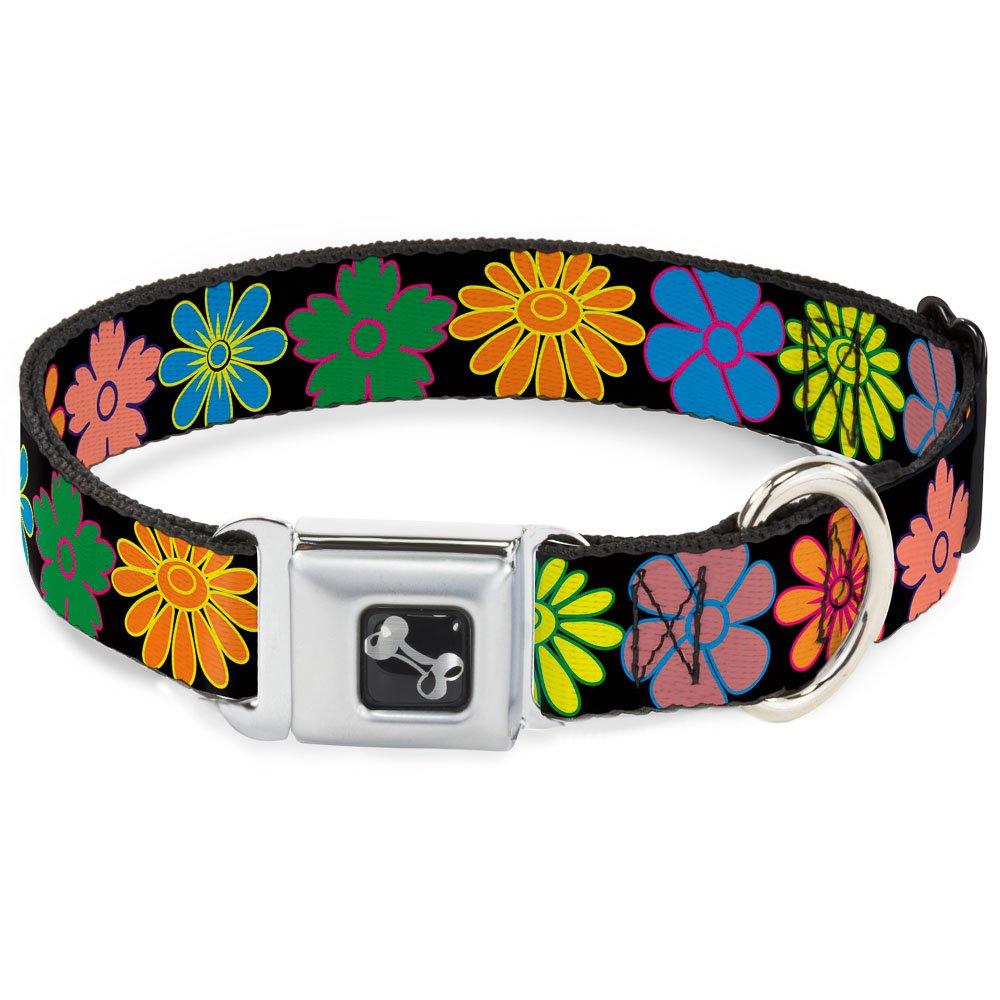 Buckle-Down Seatbelt Buckle Dog Collar Flowers Black Multi color 1  Wide Fits 11-17  Neck Medium