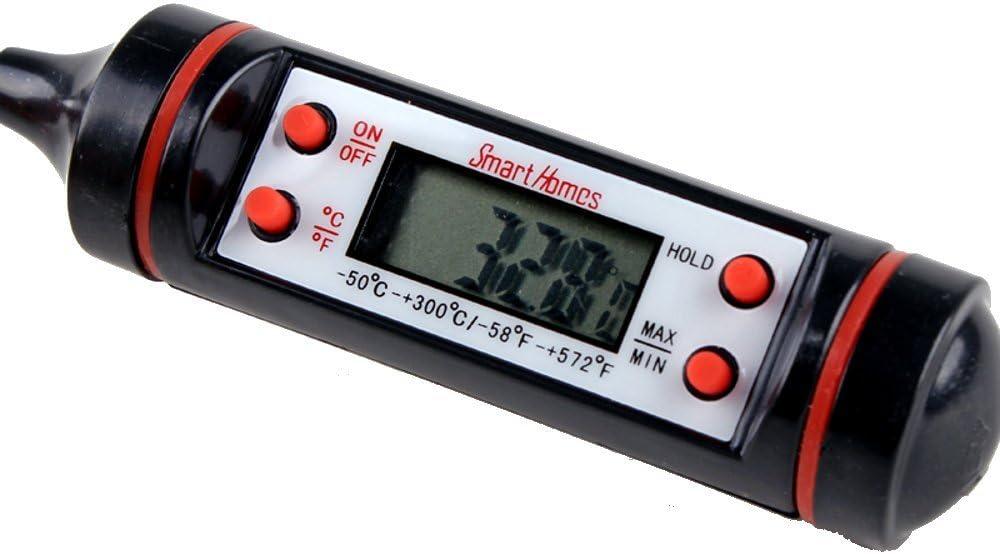 smarthomes Digital termómetro de cocina carne – ideal horno sonda de temperatura para comida, parrilla, barbacoa   Bono GRATIS de recetas   desconexión automática para máxima duración de la batería: Amazon.es: Hogar