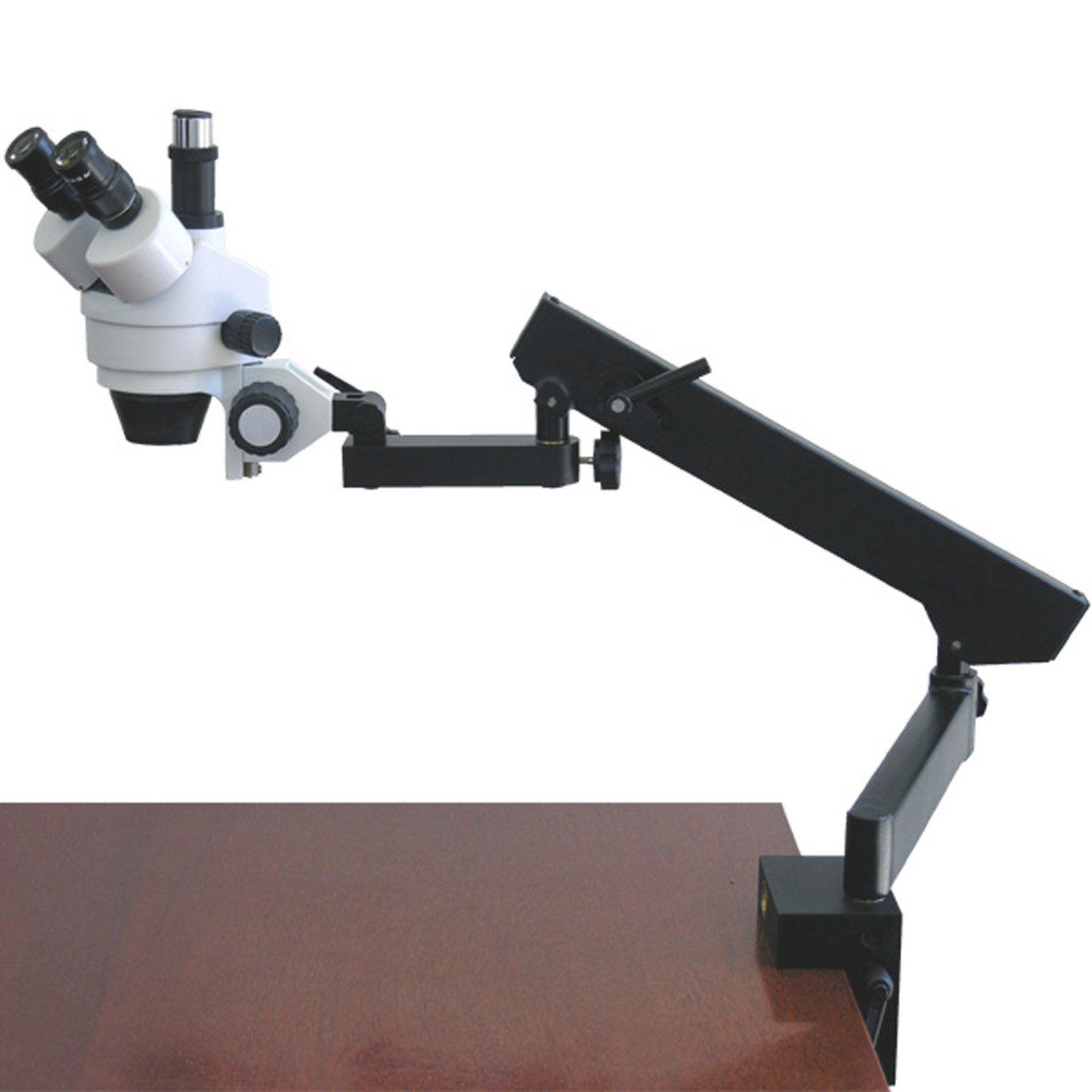 AmScope SM-6TX Professional Trinocular Stereo Zoom Microscope, WH10x Eyepieces, 3.5X-45X Magnification, 0.7X-4.5X Zoom Objective, Ambient Lighting, Clamping Articulating Arm Stand, Includes 0.5X Barlow Lens by AmScope