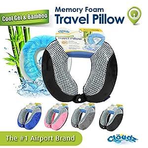Cloudz Cool Gel & Bamboo Memory Foam Travel Pillow - Black