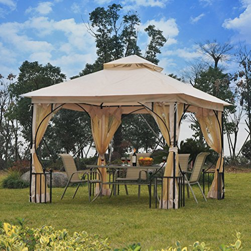 Cheap  Outsunny 10' x 10' Steel Outdoor Garden Patio Gazebo Canopy with Mosquito..