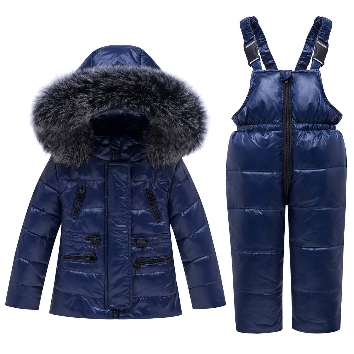 Kids Winter Puffer Jacket and Bib Snowpants - Ski Suits 2-Piece Snowsuit Ultralight Skisuit Set Hooded Coats and Bib Pants, Blue 18-24 Months by JiAmy
