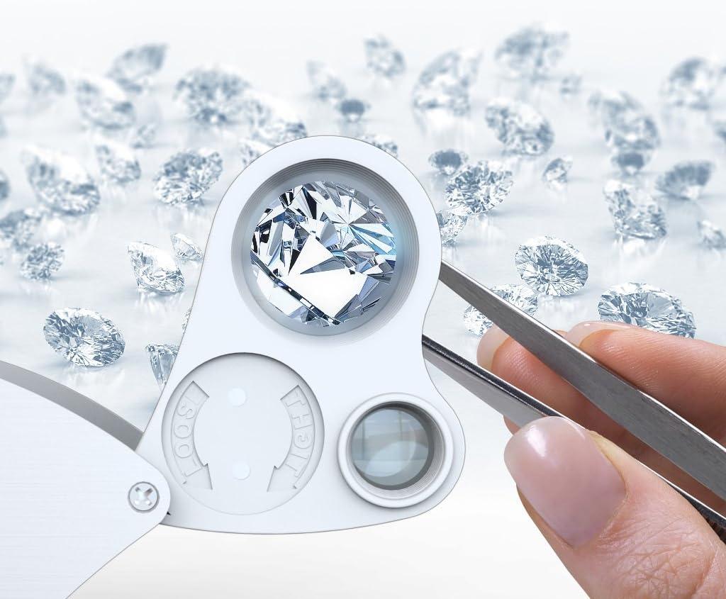 Carebol 30x 60x Illuminated Jewelers Eye Loupe LED Lighting Pocket Magnifier Silver White