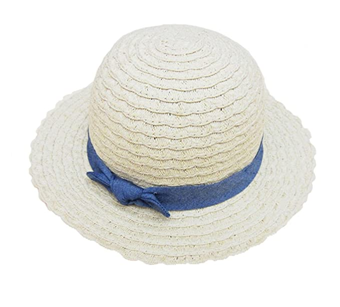 Paglia Cappelli a Tesa Larga Bimba Bambino Blu Bowknot Cappellino Cappelli  Sole f14244eee39f