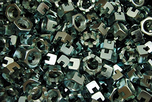 (100) Slotted Hex Castle Nuts 5/8-18 Fine Thread Zinc Plated by Lexar Industrial
