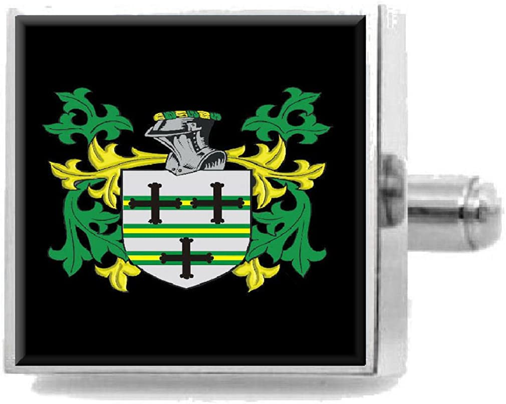 Select Gifts Burland England Heraldry Crest Sterling Silver Cufflinks Engraved Message Box